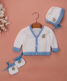 Buttercup From Knitting Nani Full Sleeves Animal Design Sweater With Cap & Booties - White & Blue