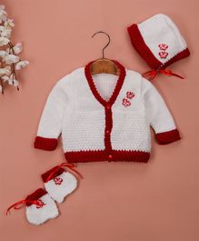 Buttercup From Knitting Nani Full Sleeves Butterfly Design Sweater With Cap & Booties - White & Maroon