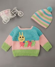 Buttercup From Knitting Nani Full Sleeves Caterpillar Design Sweater With Cap - Blue & Pink