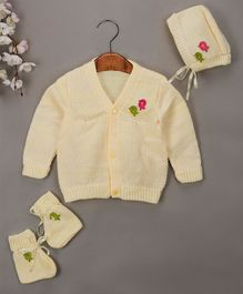 Buttercup From Knitting Nani Bird Design Sweater With Cap & Booties - Yellow