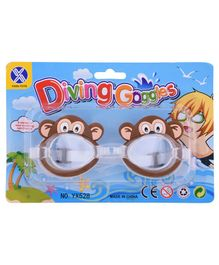 Monkey Shape Swimming Goggles With Adjustable Belt - Brown