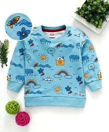 Babyhug Winter Wear Full Sleeves Sweatshirt Multiprint - Sky Blue