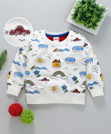 Babyhug Winter Wear Full Sleeves Sweatshirt Multiprint - White