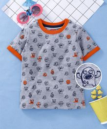 Babyhug Half Sleeves Tee With Puff Print Detailing - Grey