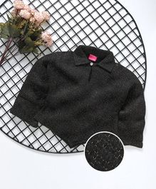 Button Noses Full Sleeves Winter Wear Tee - Black