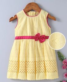 Babyhug Sleeveless Embroidered Frock With Waist Bow Motif - Light Yellow