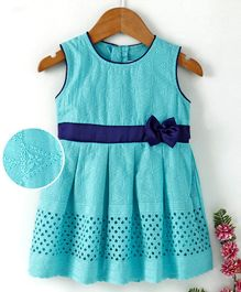 Babyhug Sleeveless Embroidered Frock With Waist Bow Applique - Light Blue