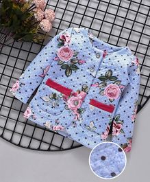 Button Noses Full Sleeves Quilted Winter Wear Top Floral Print - Blue