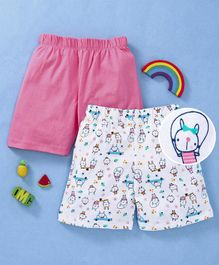 Babyhug Cotton Shorts Pack of 2 -  Pink White