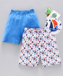 Babyhug Cotton Shorts Striped Pack of 2 - Blue