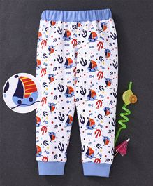 Babyhug Full Length Cotton Lounge Pant Ship Print - Blue