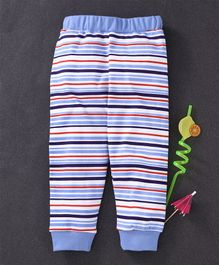 Babyhug Full Length Cotton Striped Lounge Pant - Blue