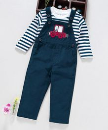 ToffyHouse Dungaree With Full Sleeves Striped Tee - Navy