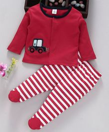 ToffyHouse Full Sleeves Tee & Footed Pants Set Striped & Car Patch - Red