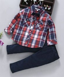 ToffyHouse Full Sleeves Checks Shirt Pant & Bow Set - Red & Navy