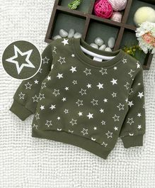 Babyhug Full Sleeves Sweatshirt Star Print - Olive Green