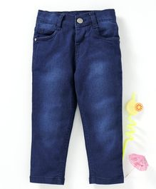 Babyhug Stretchable Denim Adjustable Elastic Full Length Jeans -  Dark Blue
