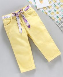 Babyhug Cotton Lycra Solid Colour Capri With Adjustable Elasticated Waist - Yellow