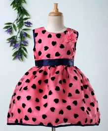 Babyhug Sleeveless Party Wear Frock With Bloomer All Over Heart Print - Navy & Pink