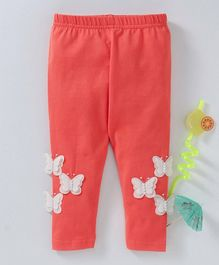 Babyhug Ankle Length Stretchable Leggings Butterfly Motif - Red