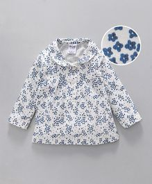 Simply Full Sleeves Floral Printed Top - White Blue