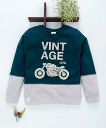 Ollypop Full Sleeves Sweatshirt Vintage Print - Oxford Blue