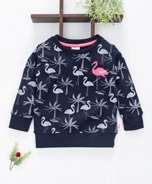 Ollypop Full Sleeves Sweatshirt Flamingo Print - Navy Blue