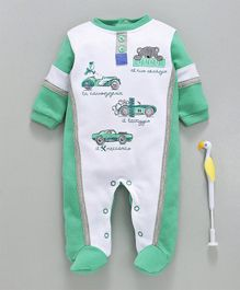 Cucumber Full Sleeves Footed Romper Car Print - Green