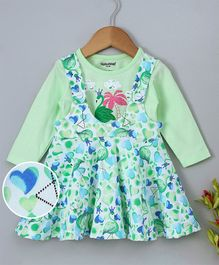 Cucumber Dungaree Style Frock With Inner Tee Flamingo Print - Light Green