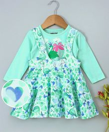Cucumber Dungaree Style Frock With Inner Tee Flamingo Print - Mint Green