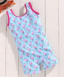 Babyhug Sleeveless Legged Swimsuit Flamingo Print - Blue