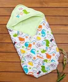 Cucumber Hooded Wrapper Dino Print - Green