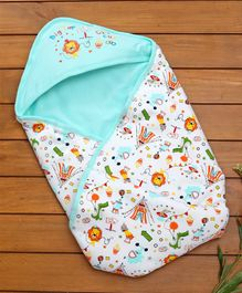 Cucumber Hooded Wrapper Circus Print - Blue
