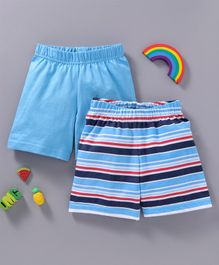 Babyhug Solid & Striped Cotton Shorts Pack of 2 - Blue