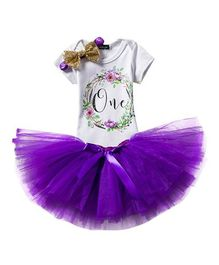Babymoon Short Sleeves Onesie With Tutu Skirt & Headband One Print - Purple