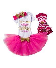 Babymoon Short Sleeves Onesie With Tutu Skirt Socks & Headband Two Print - Pink