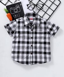 Babyhug Half Sleeves Checks Shirt - Black White