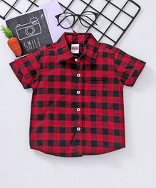 Babyhug Half Sleeves Checks Shirt - Black Red