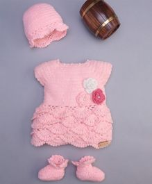 The Original Knit Short Sleeves Flower Adorned Dress Set With Cap & Booties - Light Pink