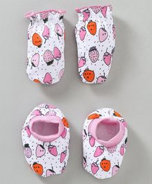 Babyhug Cotton Mittens & Booties Set Strawberry Print - White Pink