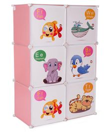 6 Compartment Storage Unit Animals Print - Pink White