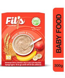 Fil's Organic Baby Cereal With Milk Wheat Apple & Banana - 300 gm