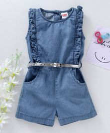 Babyhug Sleeveless Ruffled Denim Jumpsuit - Light Blue