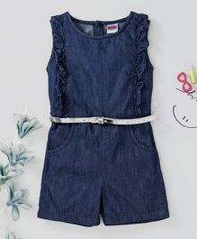 Babyhug Sleeveless Ruffled Denim Jumpsuit - Dark Blue