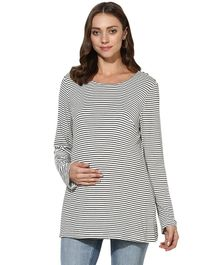 Wobbly Walk Striped Maternity Full Sleeves Top - White