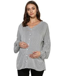 Wobbly Walk Striped Full Sleeves Maternity Top - White