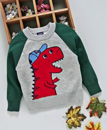 Kookie Kids Dinosaur Design Full Sleeves Sweater - Grey