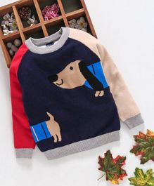 Kookie Kids Dog Design Full Sleeves Sweater - Navy Blue