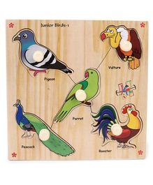 Kinder Creative Wooden Junior Birds With Knobs Puzzle - Multicolor