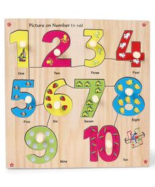 Kinder Creative Wooden Picture On Number With Knobs Puzzle - Multicolor